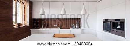 White And Brown Kitchen Interior