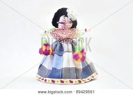 national handmade children doll over white background poster
