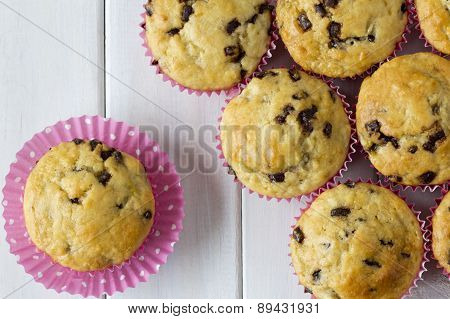 Banana Chocolate Muffins from Above