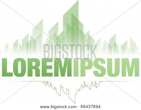 Emerald city green logo design, abstract, modern poster