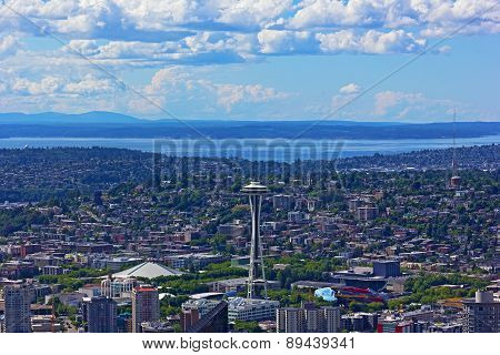 A view on Seattle city from a skyscraper height.