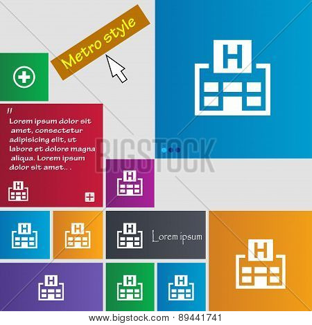 Hotkey Icon Sign. Metro Style Buttons. Modern Interface Website Buttons With Cursor Pointer. Vector