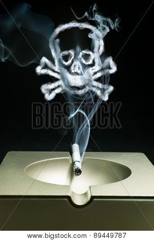 Smoldering Cigarette In An Ashtray With A Smoke