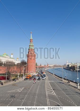Kremlin Embankment In Early Spring