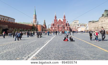 People Relax On The Red Square In Moscow