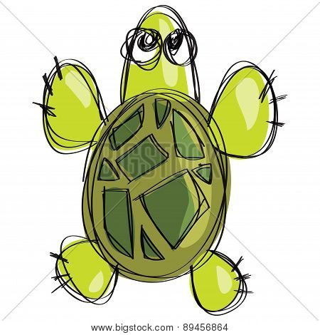 Cartoon Green Turtle In A Childish Naif Doodle Drawing Style
