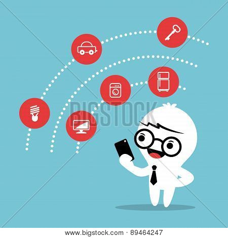 Internet of things concept cartoon vevtor illustration poster