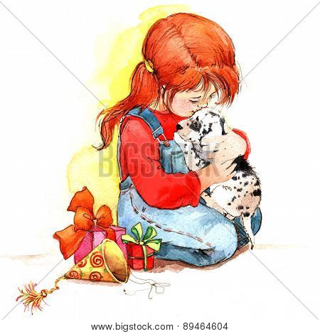 Girl And Puppy. Watercolor illustration.