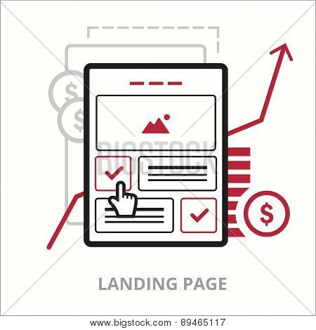 Business icons. Landing page. Flat vector illustration. Outlined IT icon for web site.