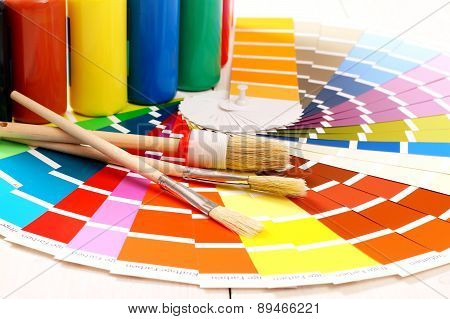 Pantone Color Palette, Brush On White Background