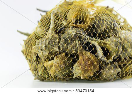 Market bag of Bolinus brandaris an edible marine gastropod mollusk known as the purple dye murex or the spiny dye-murex is a species of medium-sized predatory sea snail in the family Muricidae. Harvest in South Portugal Atlantic cost. poster