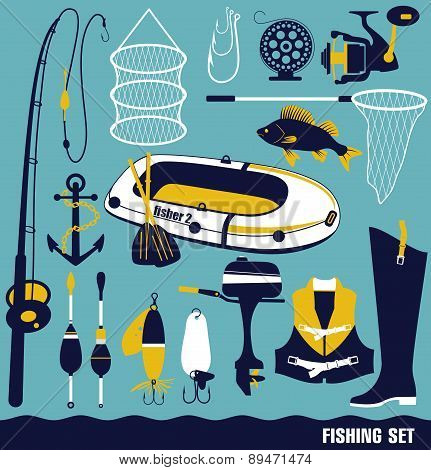 ector illustrationof fishing tools.