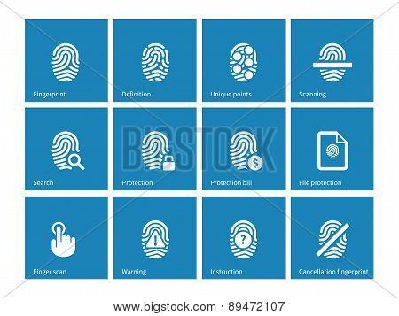 Fingerprint icons on blue background.