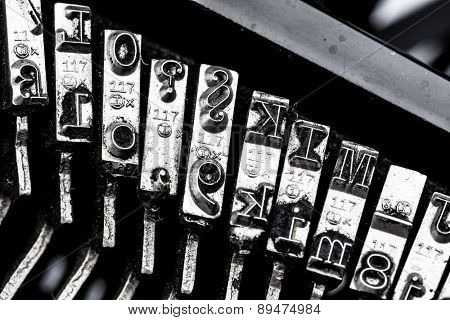 types and character of an old typewriter. symbolic photo for communication in former times
