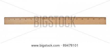 vintage wooden school ruler over white, clipping path