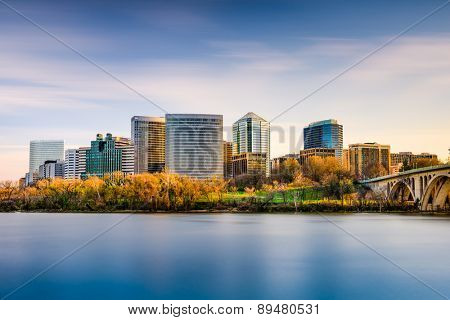 Rosslyn, Arlington, Virginia, USA city skyline on the Potomac River.