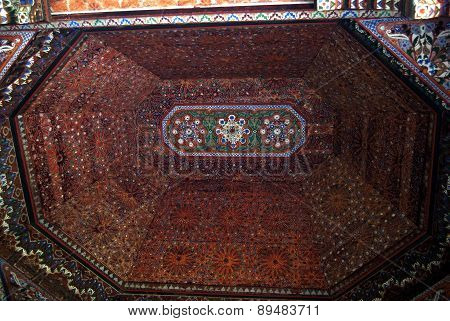 Bahia Palace, Marrakech, Morocco - April 13, 2015: ceiling