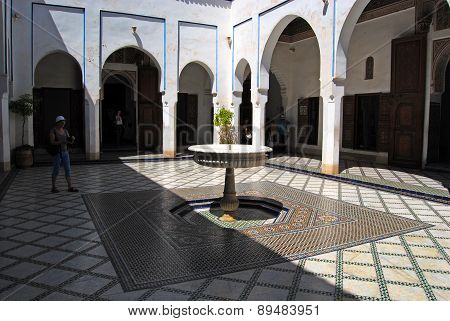 Bahia Palace, Marrakech, Morocco - April 13, 2015: courtyard