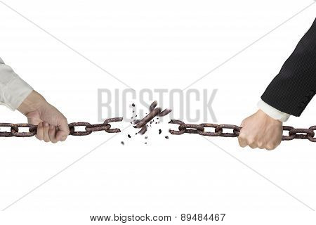 Businessman Pulling Rusty Iron Chains Broken Isolated On White