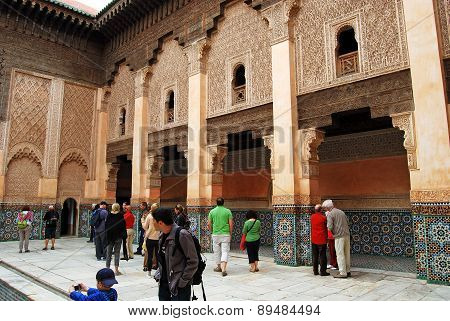 Ben Youssef Madrasa, Marrakech, Morocco - April 15, 2015: Founded by the Merenid Sultan Abou el Hass
