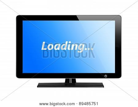 Modern Tv Screen With Blue Screen