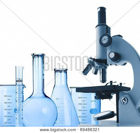 Laboratory metal microscope and test-tubes isolated on white poster