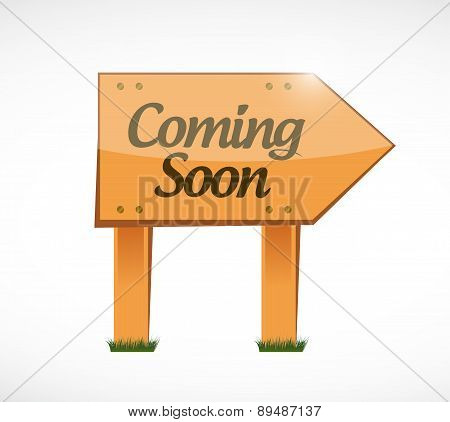 coming soon wood sign concept illustration design over white poster