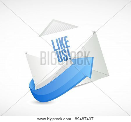 Like Us Mail Sign Concept Illustration