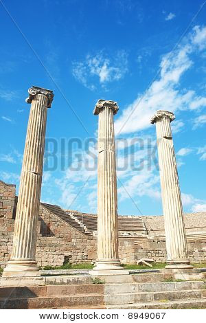 Ruins of columns in Asklepion in ancient city of Bergama Turkey poster