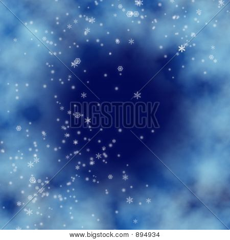 Digital Blue Background With Snowfall