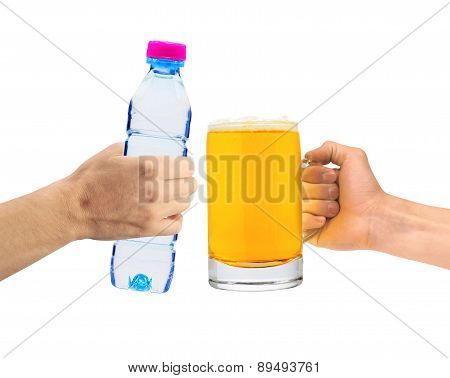 Human Hands Holding A Bottle Of Water And Beer Glass Isolated On White