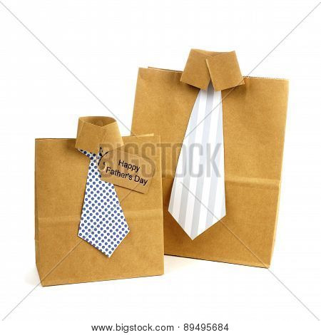 Fathers Day handmade shirt and tie gift bags