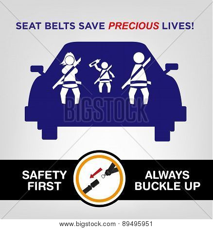 Seat Belts save precious lives concept.