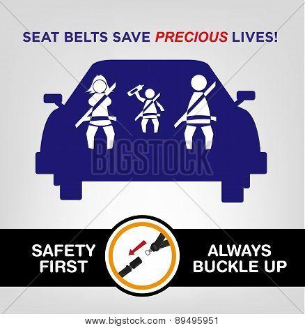 Seat Belts save precious lives concept.