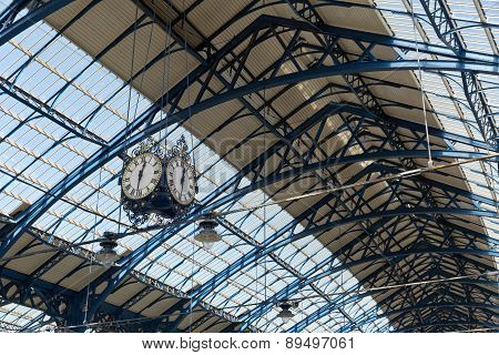April 2015 - Brighton, England: Trainstation At Brighton Looking Up The Roof And Clock