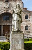 Statue of Don Pelayo victor of battle at Covadonga and first King of Asturias poster
