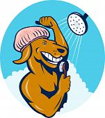 illustration of a Cartoon dog singing shower scrubbing with brush poster
