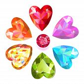 Seamless pattern of colored heart cut gems isolated on white background vector illustration poster