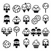 Vector icons set of Kawaii sweets isolated on white poster