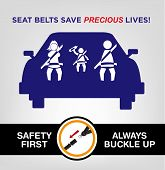 Family on a car wearing safety belt while traveling and a visual instruction to always buckle up for safety purposes. vector and jpg poster awareness. poster