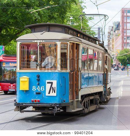 Vintage wooden blue tram, Stockholm, Sweden, Europe.