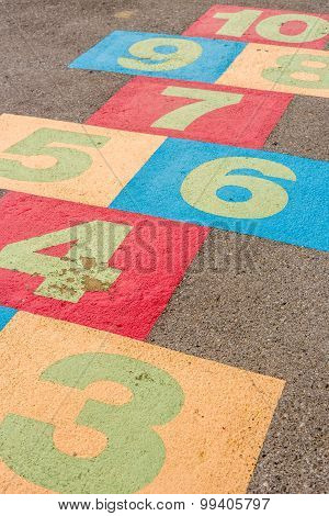 Hopscotch Background / Hopscotch / Hopscotch On Playground With Numbers On Ground