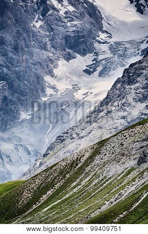 Mountaintop With Snow By Summer