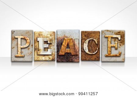 Peace Letterpress Concept Isolated On White