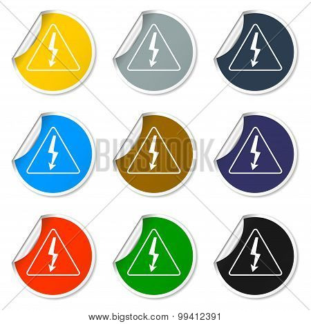 Set of 9 High Voltage Icons - Vector Illustration