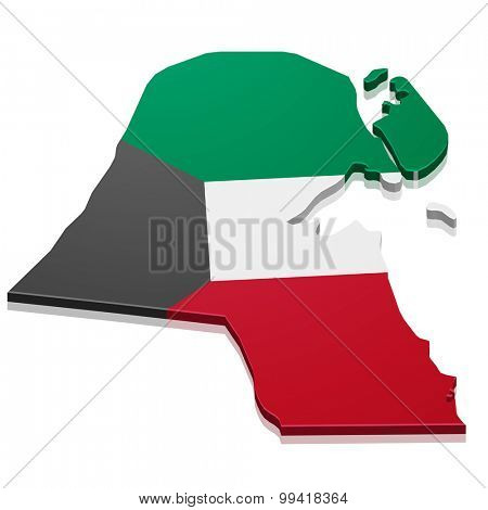 detailed illustration of a map of Kuwait with flag, eps10 vector