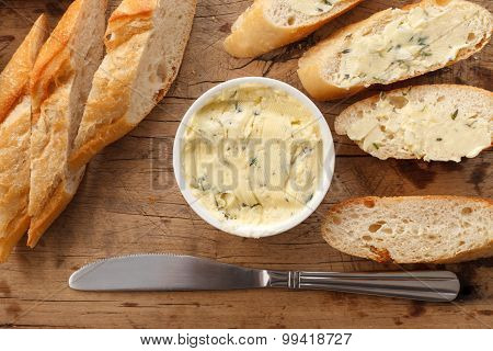 garlic bread compound butter herb baguette thyme rosemary coriander oregano fresh chopped homemade italian food snack tasty poster