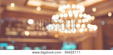 Image Of Blur Chandelier With Bokeh In Yellow Vintage Tone For Background Usage