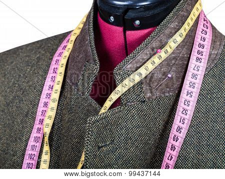 Tailoring Of Collar For Tweed Jacket On Mannequin