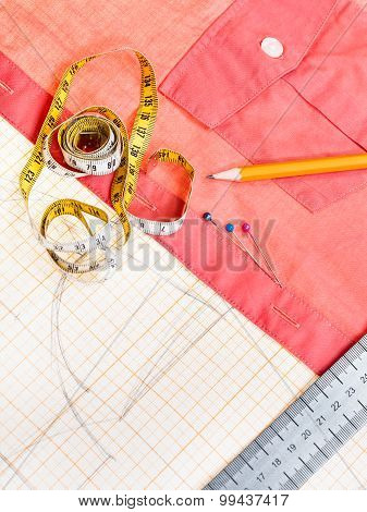 Pattern, Measuring Tape, Pencil, Pins, Red Blouse